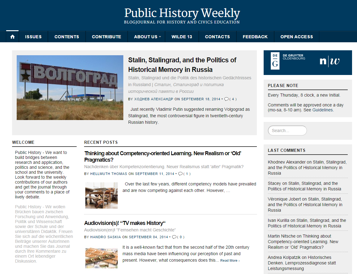Public History Weekly   BlogJournal for History and Civics Education