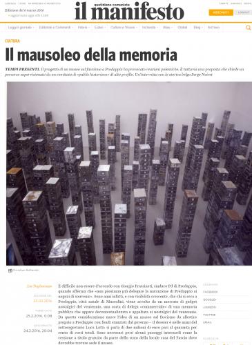 predappio - mausoleo della memoria - intervista manifesto