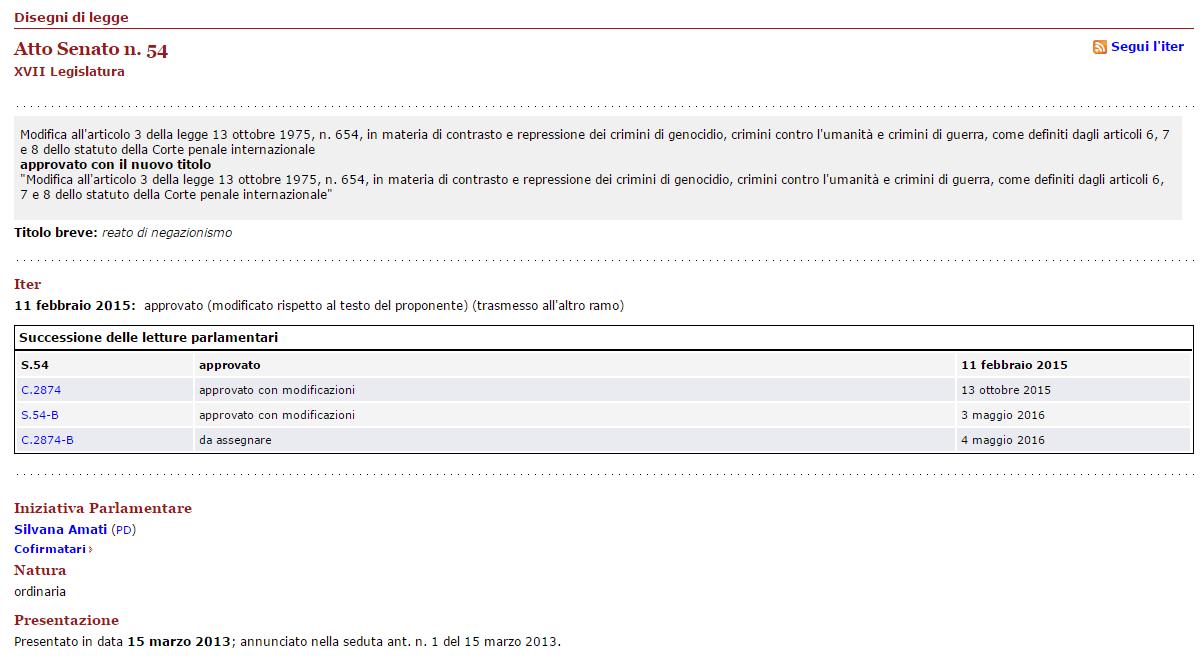 Parlamento Italiano Disegno di legge S. 54 17ª Legislatura
